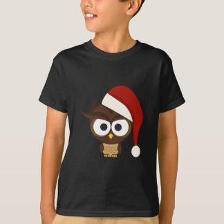 Angry Owl wearing Santa Hat T-Shirt
