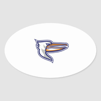 Angry Pelican Head Isolated Retro Oval Sticker