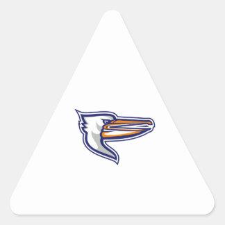 Angry Pelican Head Isolated Retro Triangle Sticker