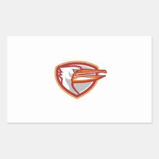 Angry Pelican Head Shield Retro Rectangular Sticker