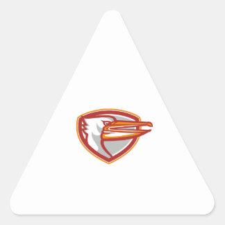 Angry Pelican Head Shield Retro Triangle Sticker