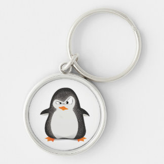 Angry Penguin Glitter Photo Print Key Ring