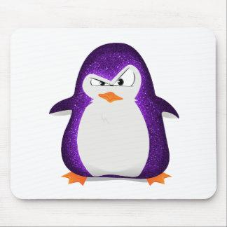 Angry Penguin Purple Glitter Photo Print Mouse Mat
