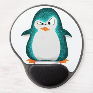 Angry Penguin Teal Glitter Photo Print Gel Mouse Mat