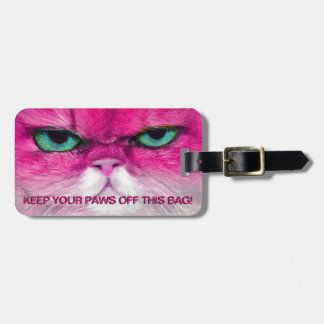 ANGRY PINK CAT, KEEP PAWS OFF CAT LUGGAGE TAG