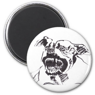 Angry pitbull - Wild animal Button Magnet