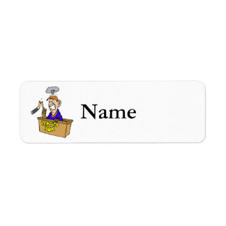 Angry player in the box with broken stick return address label