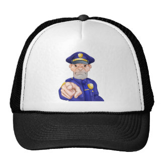Angry Pointing Police Officer Cap