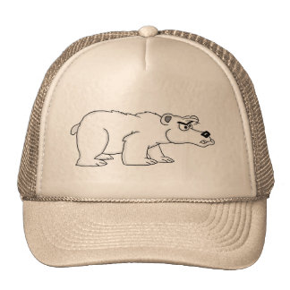 Angry polar bear design caps and trucker hats
