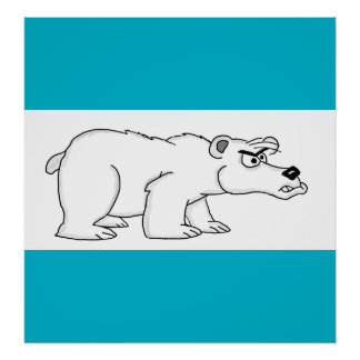 Angry polar bear design cards and paper products poster