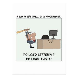 Angry Programmer Hits Computer Postcard