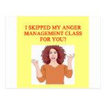 angry psychology joke post card