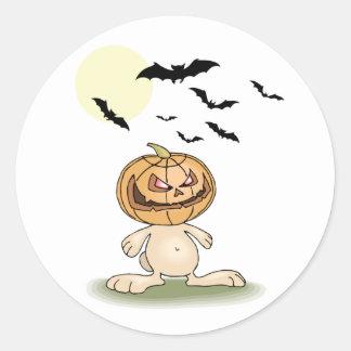 Angry Pumpkin Bunny Round Sticker