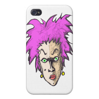 Angry Purple Hair Punk Woman  iPhone 4 Cases