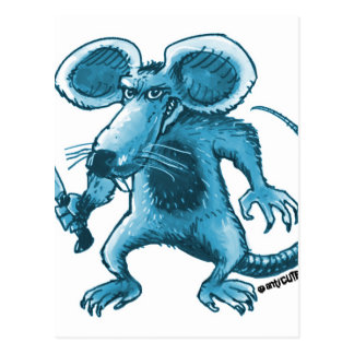 angry rat with knife blue contour postcard