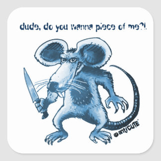 angry rat with knife blue square sticker