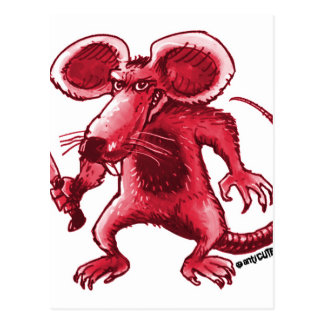 angry rat with knife red contour postcard