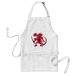 angry rat with knife red contour standard apron
