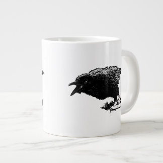 Angry Raven in Black Pick Your Background Extra Large Mug