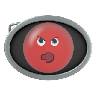 Angry Red Smiley Belt Buckle
