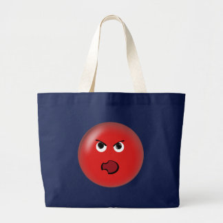 Angry Red Smiley Large Tote Bag
