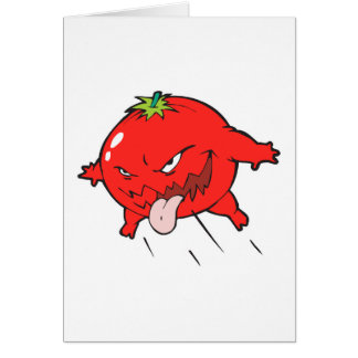 angry rotten tomato cartoon character greeting card
