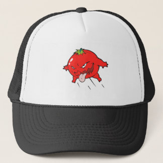 angry rotten tomato cartoon character trucker hat