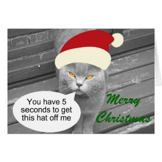 Angry Santa Cat Greeting Card