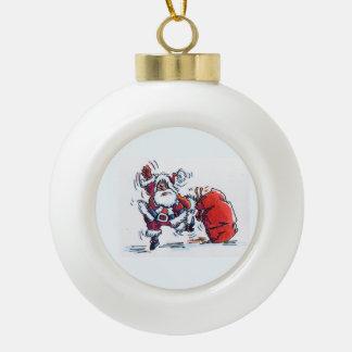 Angry Santa Christmas ball Ceramic Ball Christmas Ornament