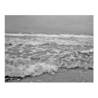 Angry Seas in Black and White Postcard