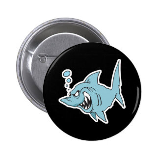 angry shark 6 cm round badge