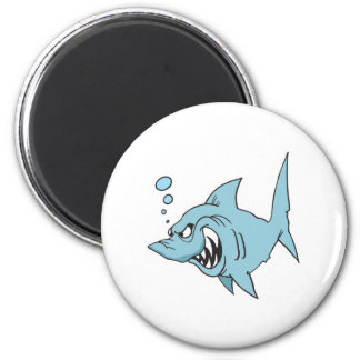 angry shark 6 cm round magnet