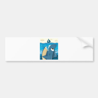 Angry shark aiming for sailboat bumper sticker