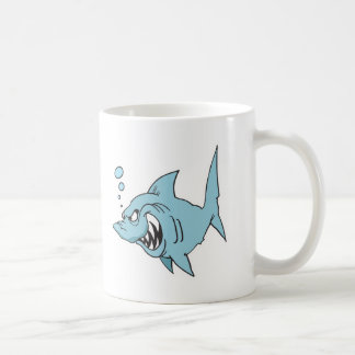 angry shark basic white mug