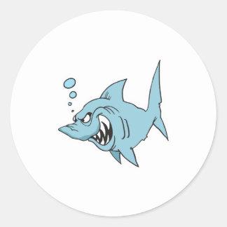 angry shark round sticker