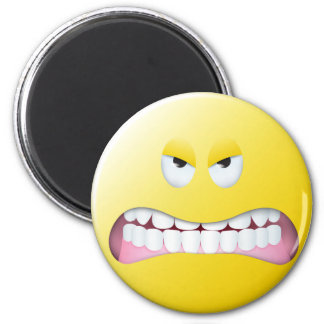 Angry Smiley Face 6 Cm Round Magnet