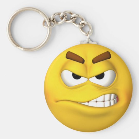 Angry Smiley Face Basic Round Button Key Ring