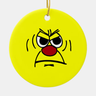Angry Smiley Face Grumpey Round Ceramic Decoration