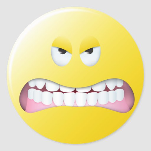 Angry Smiley Face Sticker