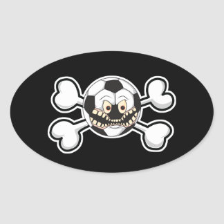 Angry soccer ball Skull and Crossbones Oval Sticker