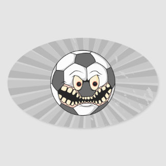 angry soccer ball oval sticker