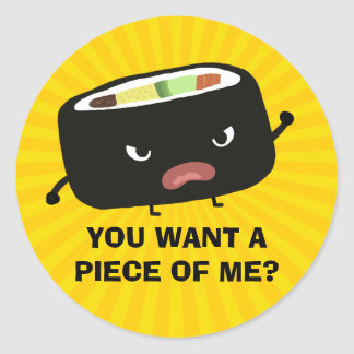 Angry Sushi Classic Round Sticker