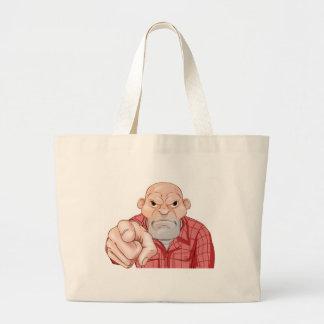 Angry Thug Pointing Large Tote Bag