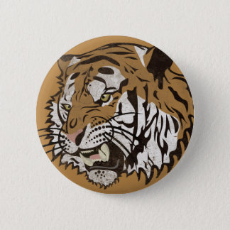 Angry Tiger 6 Cm Round Badge