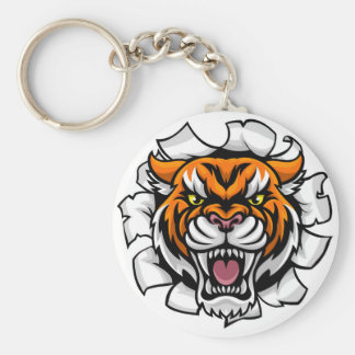 Angry Tiger Background Breakthrough Key Ring
