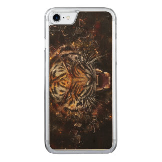 Angry Tiger Breaking Glass Yelow Carved iPhone 8/7 Case