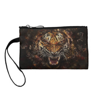 Angry Tiger Breaking Glass Yelow Coin Purses