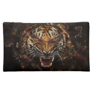 Angry Tiger Breaking Glass Yelow Cosmetics Bags