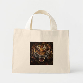 Angry Tiger Breaking Glass Yelow Mini Tote Bag