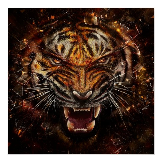 Angry Tiger Breaking Glass Yelow Poster